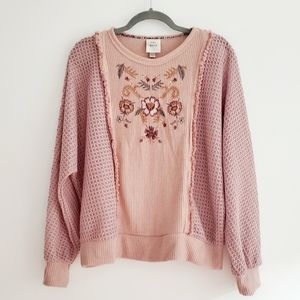 Knox Rose Embroidered Dusty Pink Dolman Sweater